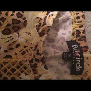 FULL CIRCLE Pants - LEGGINGS PANTS XL FLORAL BROWN BLACK FULL CIRCLE